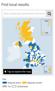 BBC UK EU Result Map at 1.08pm AEST 24-06-2016